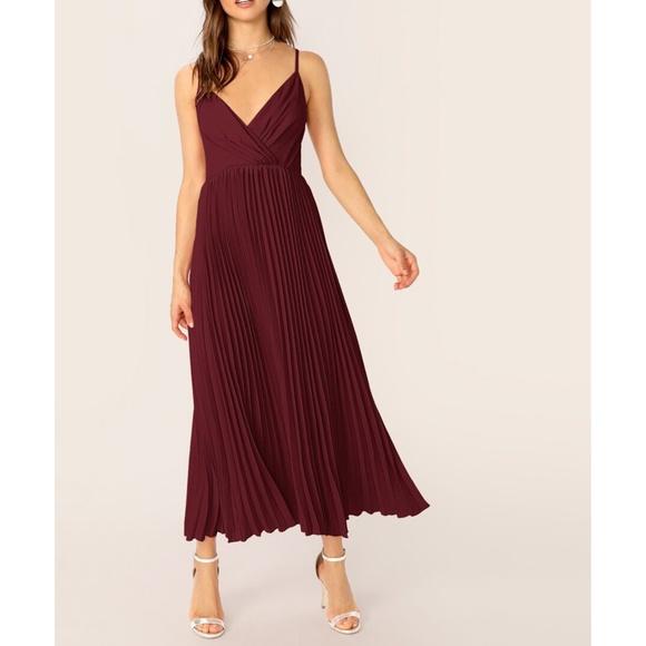MBM Unlimited Dresses & Skirts - Maroon Burgundy Sleeveless Pleated Maxi Dress